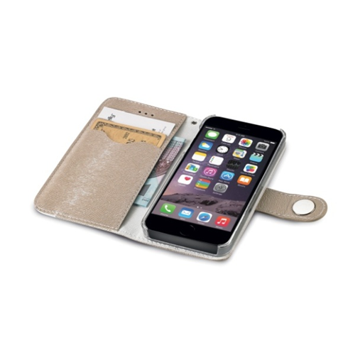 Apple Iphone 6 PLUS custodia CELLY a Portafoglio in ecopelle Oro