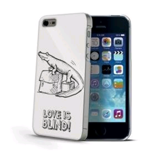 Celly Custodia iPhone 5 5s SE Back Cover Love is Blind Croco Bianco