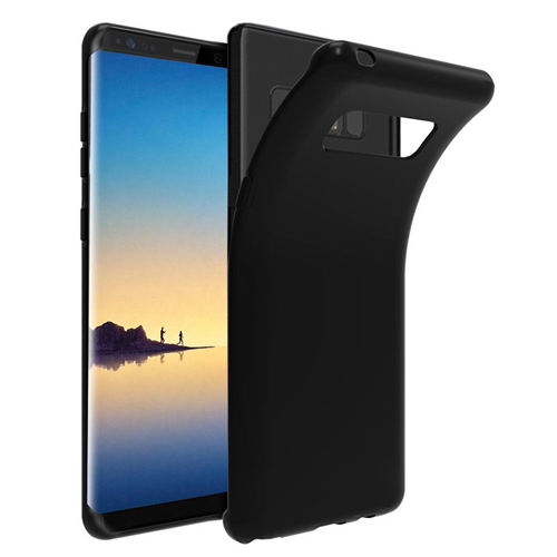 Custodia Samsung Galaxy Note 8 Cover Ultra Slim 0,3mm Trasparente Nero Bumper in Silicone Flessibile