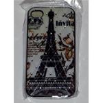 Custodia per iPhone 4 4s Cover Rigida Torre Eiffel Parigi con Strass