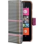 Celly Custodia per Nokia Lumia 630 Dandy Pied De Poule Flip Cover Rosa
