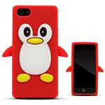 Custodia in Silicone iPhone 5 5S SE Pinguino Back Cover Morbida Rosso