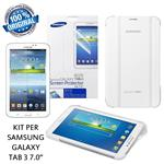 "Samsung Custodia Galaxy Tab 3 7.0"" Book Cover Bianco + Pellicola 2 Pz. Originali"