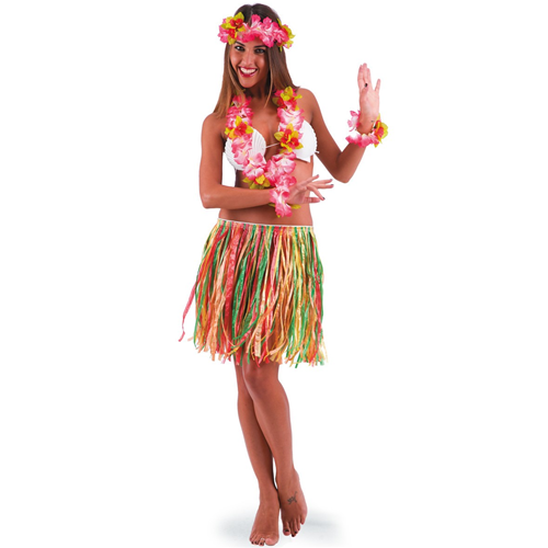 Gonna Hawaiana Accessorio Costume Festa Lunghezza 45 cm Multicolor