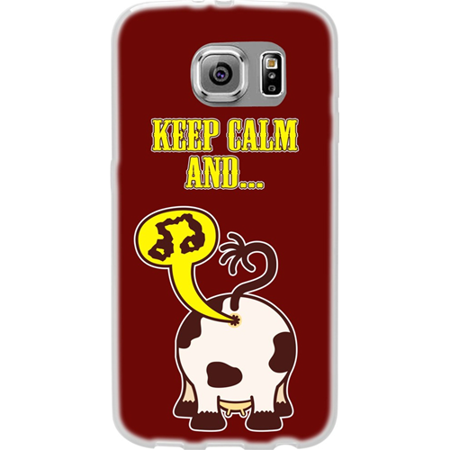 Custodia Posteriore per Samsung Galaxy S6 Edge G925 Back Soft Cover Morbida Keep Calm