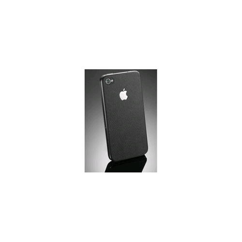 Adesivo Decorazione Apple Iphone 4/4S Fronte e Retro in Similpelle Nero